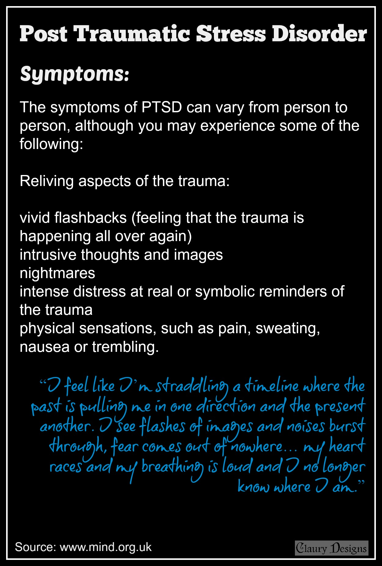 ptsd reliving trauma Post-traumatic stress disorder (ptsd) national institute of mental health us department of health and human services • national institutes of health contents what is post traumatic stress disorder, or ptsd 1 who gets ptsd 1 flashbacks—reliving the trauma over and over.