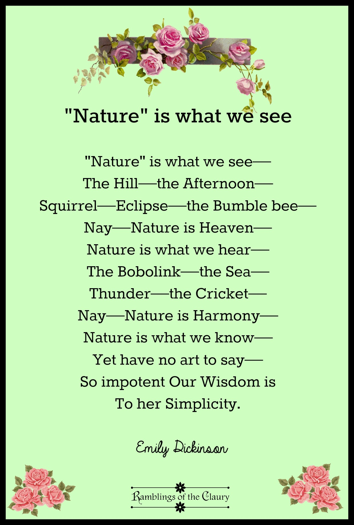 Nature Is What We See Ramblings Of The Claury